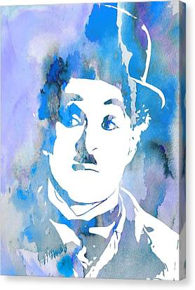 Charlie Chaplin Watercolor Blue Canvas Print by Dan Sproul
