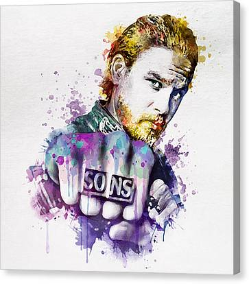 Charlie Hunnam As Jax In Watercolor Canvas Print by Marian Voicu