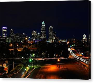 Charlotte Nc At Night Canvas Print by Chris Flees