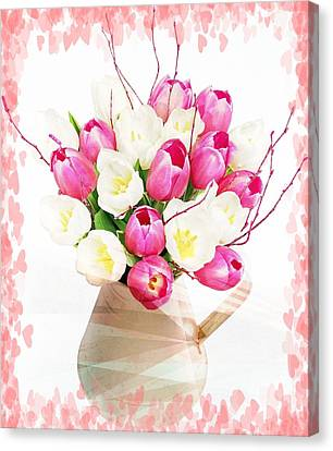 Charming Heart Tulips Canvas Print by Debra  Miller