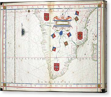 Chart Of Southern Africa Canvas Print by British Library