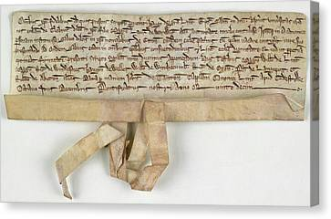 Charter Of Claybrooke Magna Canvas Print by British Library