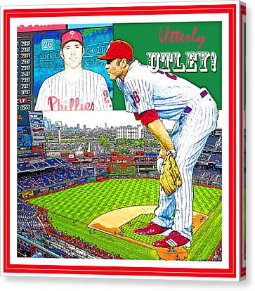 Chase Utley Poster Utterly Utley Canvas Print by A Gurmankin