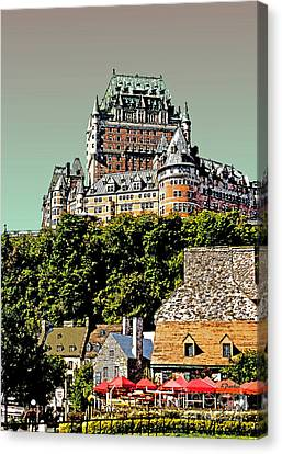Chateau In Old Quebec Canvas Print by Linda  Parker
