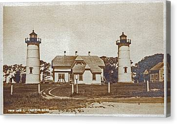 Chatham Twin Lights 1908-18 Canvas Print by Skip Willits
