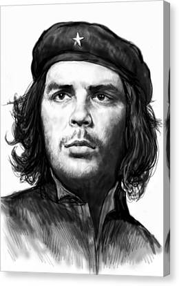 Che Quevara Art Drawing Sketch Portrait  Canvas Print by Kim Wang
