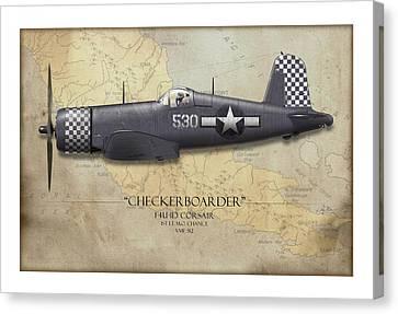 Checkerboarder F4u Corsair - Map Background Canvas Print by Craig Tinder