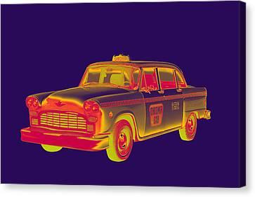 Checkered Taxi Cab Pop Art Canvas Print by Keith Webber Jr