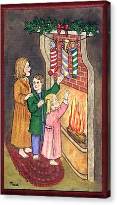 Checking Our Stockings Canvas Print by Linda Mears