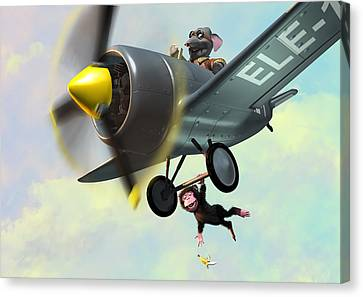 Cheeky Monkey Hanging From Plane Canvas Print by Martin Davey