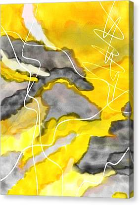 Cheerful Contrast - Yellow And Gray Watercolor Canvas Print by Lourry Legarde