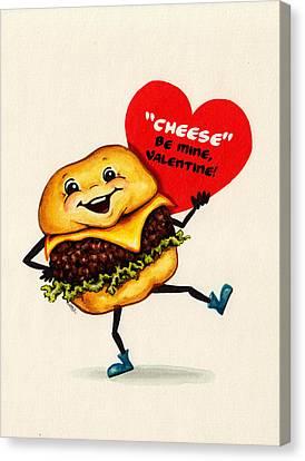 Cheeseburger Valentine Canvas Print by Kelly Gilleran