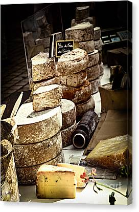 Cheeses On The Market In France Canvas Print by Elena Elisseeva