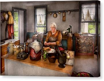 Chef - Kitchen - Cleaning Cherries  Canvas Print by Mike Savad
