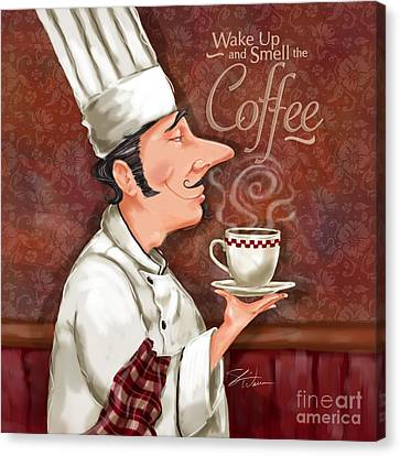 Chef Smell The Coffee Canvas Print by Shari Warren