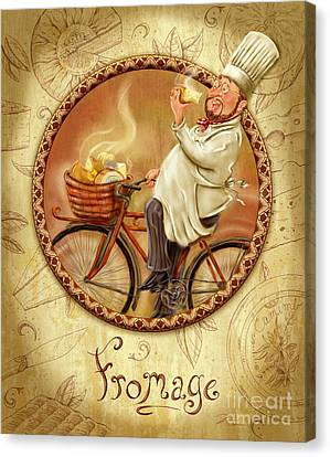 Chefs On Bikes-fromage Canvas Print by Shari Warren