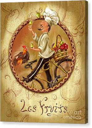 Chefs On Bikes-les Fruits Canvas Print by Shari Warren