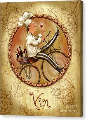 Chefs On Bikes-vin Canvas Print by Shari Warren