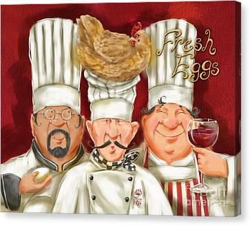 Chefs With Fresh Eggs Canvas Print by Shari Warren