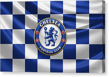 Chelsea F C - 3 D Badge Over Flag Canvas Print by Serge Averbukh