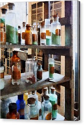 Chemistry - Bottles Of Chemicals Canvas Print by Susan Savad