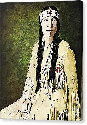 Cherokee Woman Canvas Print by Lianne Schneider
