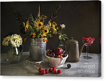 Cherries And Berries Canvas Print by Elena Nosyreva