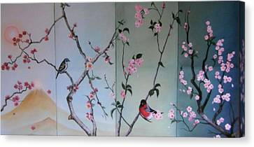 Cherry At The Foot Of Mount Fuji Canvas Print by Sorin Apostolescu