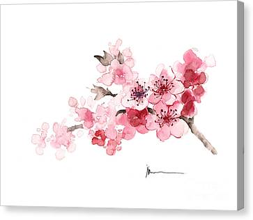 Cherry Blossom Branch Watercolor Art Print Painting Canvas Print by Joanna Szmerdt