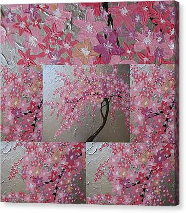 Cherry Blossom Collage Canvas Print by Cathy Jacobs