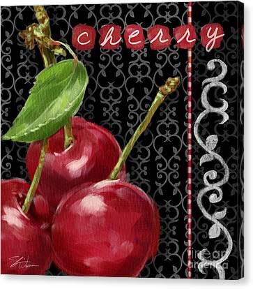 Cherry On Black And White Canvas Print by Shari Warren