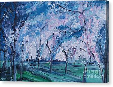 Cherry Trees Impressionism Canvas Print by Eric  Schiabor