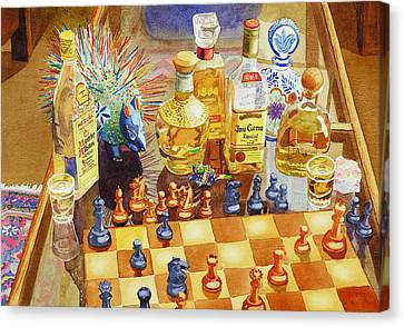 Chess And Tequila Canvas Print by Mary Helmreich