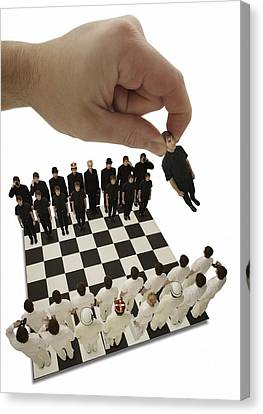 Chess Being Played With Little People Canvas Print by Darren Greenwood