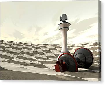Chess Desert Game Over Canvas Print by Allan Swart