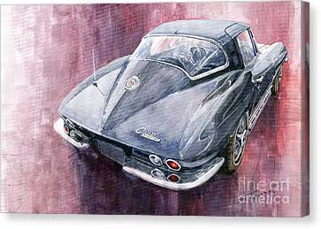 Chevrolet Corvette Sting Ray 1965 Canvas Print by Yuriy  Shevchuk