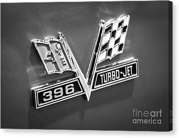Chevy 396 Turbo-jet Emblem Black And White Picture Canvas Print by Paul Velgos