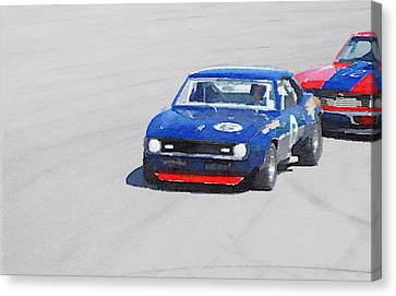 Chevy Camaro On Race Track Watercolor Canvas Print by Naxart Studio