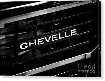 Chevy Chevelle Grill Emblem Black And White Picture Canvas Print by Paul Velgos