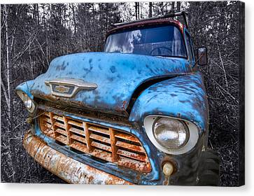 Chevy In The Woods Canvas Print by Debra and Dave Vanderlaan