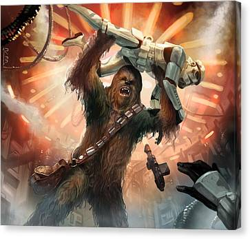 Star Canvas Print featuring the digital art Chewbacca - Star Wars The Card Game by Ryan Barger