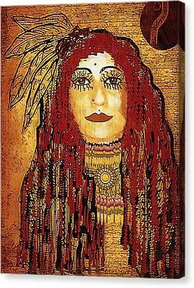 Cheyenne Woman Warrior Canvas Print by Pepita Selles
