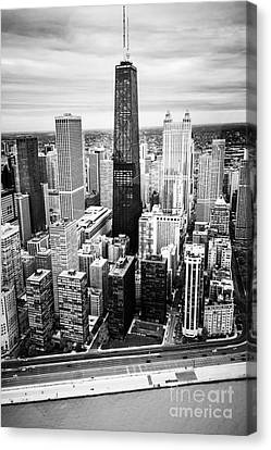 Chicago Aerial With Hancock Building In Black And White Canvas Print by Paul Velgos