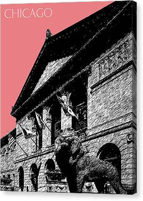 Chicago Art Institute Of Chicago - Light Red Canvas Print by DB Artist