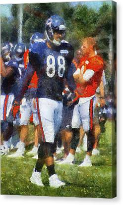 Chicago Bears Te Dante Rosario Training Camp 2014 Photo Art 02 Canvas Print by Thomas Woolworth