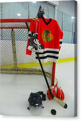 Chicago Blackhawks Home Hockey Jersey Canvas Print by Lisa Wooten