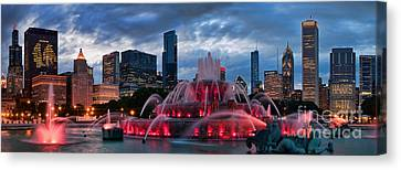 Chicago Blackhawks Skyline Canvas Print by Jeff Lewis