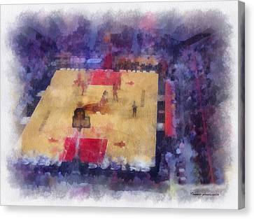Chicago Bulls Game Day Photo Art 01 Canvas Print by Thomas Woolworth