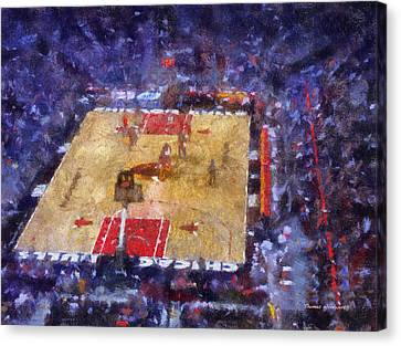 Chicago Bulls Game Day Photo Art 02 Canvas Print by Thomas Woolworth