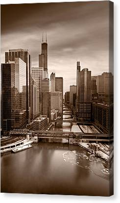 Chicago City View Afternoon B And W Canvas Print by Steve Gadomski